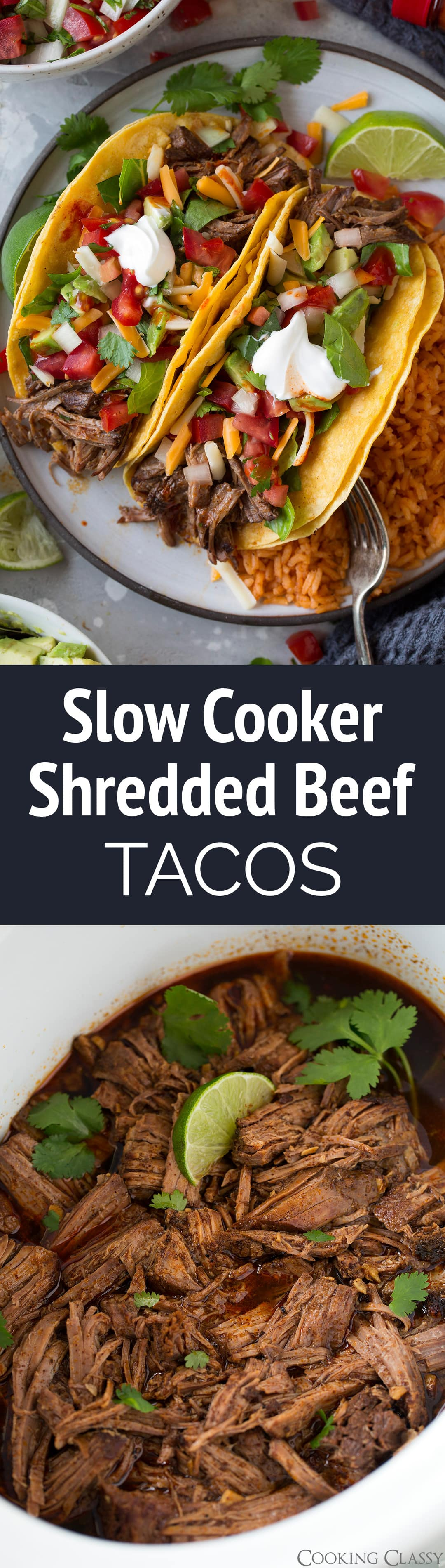 Slow Cooker Shredded Beef Tacos - These are the BEST! They've been a family favorite and a reader favorite for 5+ years! They're so easy to make and so flavorful! They taste just like the tacos you order at Mexican restaurants. The shredded beef makes great leftover too.