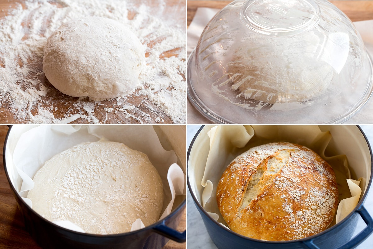 Four steps showing shaping, rising and baking no knead bread shown here.