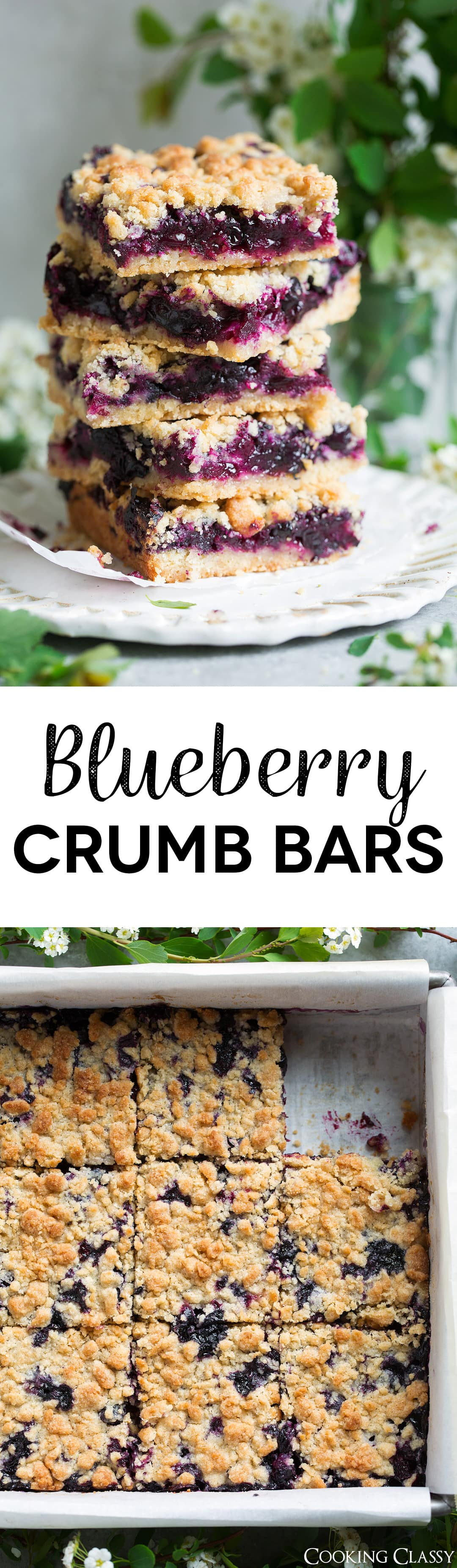Blueberry Crumb Bars - one of the BEST summer desserts! Here a crisp, buttery cookie-like crumb sandwiches a sweet, fresh, juicy blueberry filling and these things just couldn't get any better! They're the perfect use for all those fresh summer blueberries. I've been making them for years and everyone always loves them!
