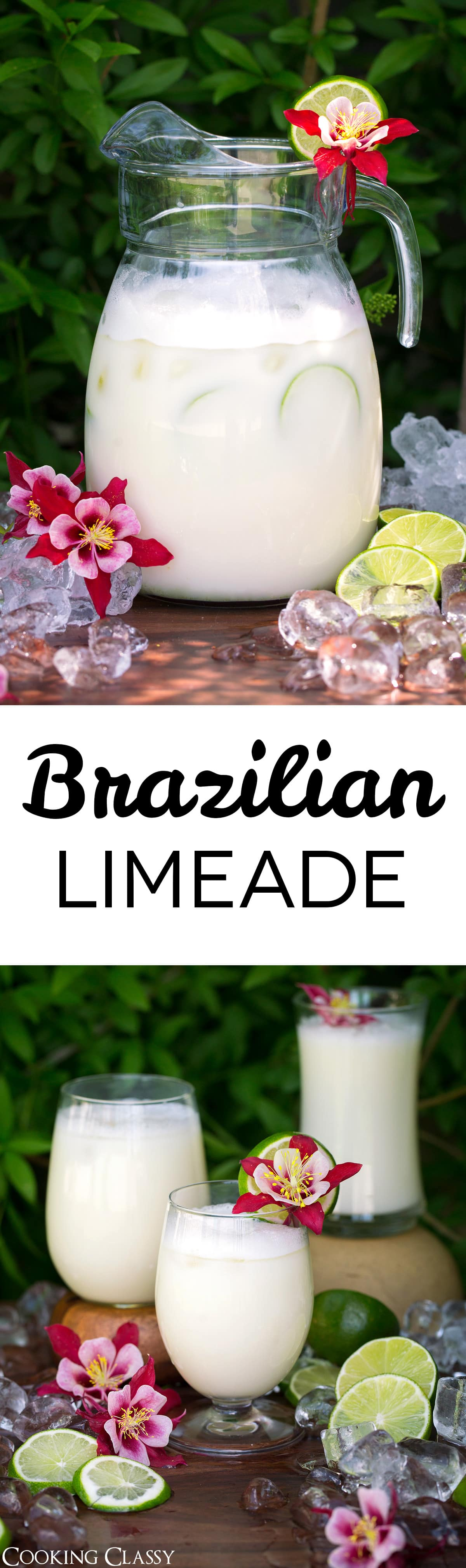 Brazilian Limeade - One of the most refreshing drinks on a hot summer day! It's bright and tangy, it's sweet and tart, and it's even got a delicious creaminess to it thanks to the sweetened condensed milk. Such a tasty twist on the classic lemonade! #lemonade #limeade #brazilianlemonade #drinks #summer #recipe