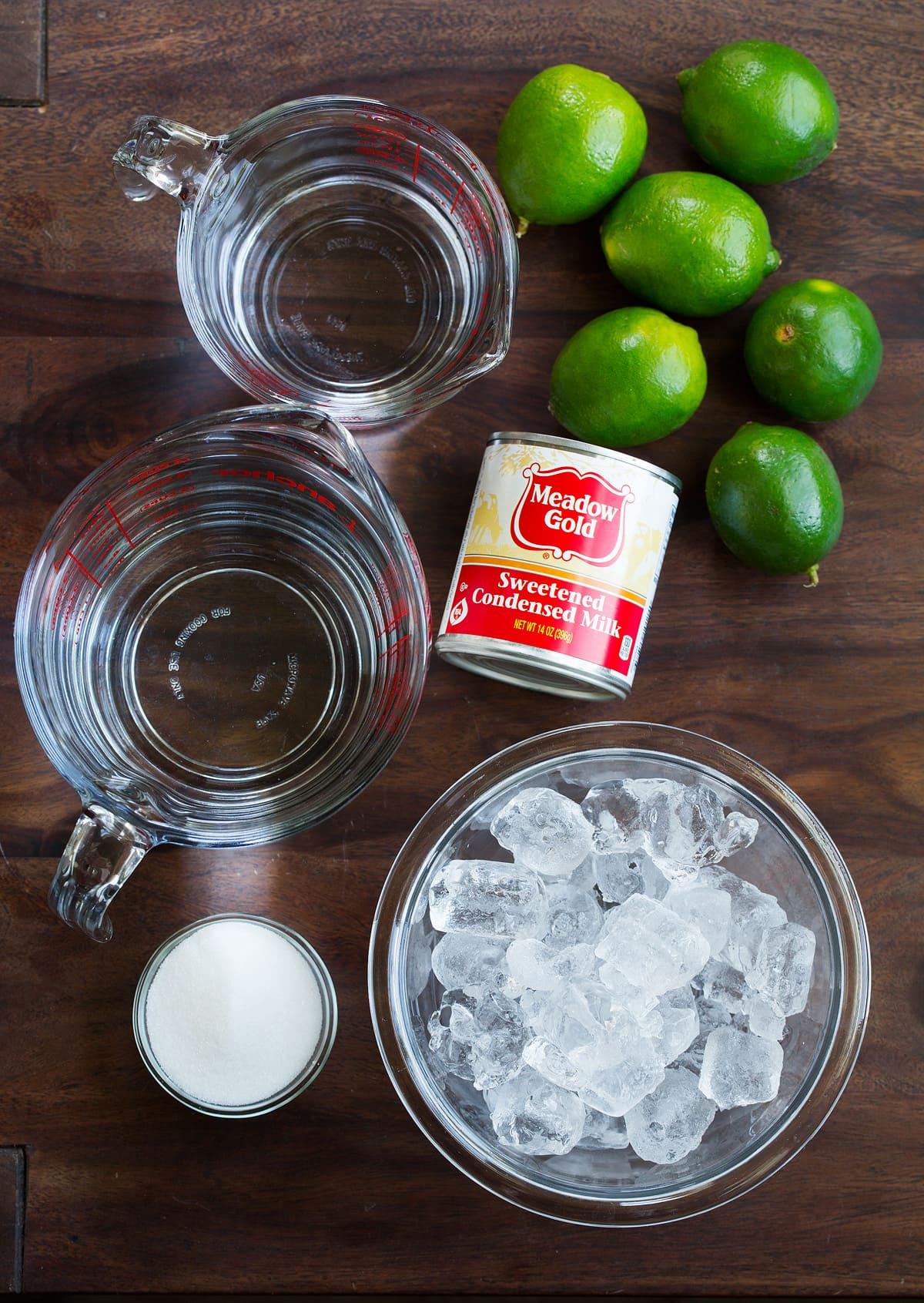 Brazilian Limeade Ingredients fresh limes sweetened condensed milk sugar water ice