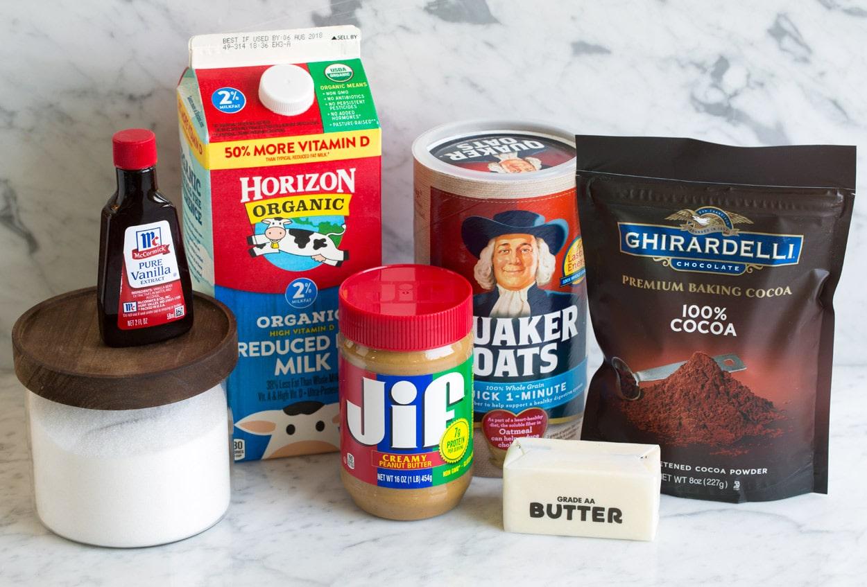 No Bake Cookies ingredients butter sugar milk cocoa powder quick oats peanut butter vanilla