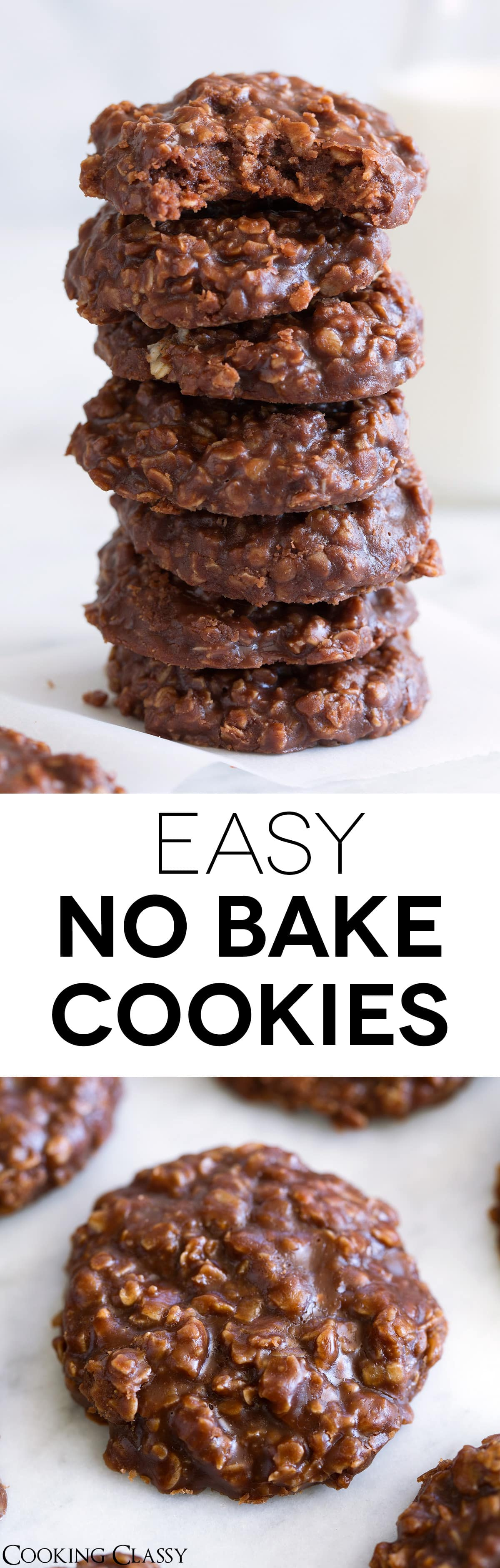 NO BAKE COOKIES. A super fast, super easy to make cookie made with chewy oatmeal, rich cocoa and creamy peanut butter. They're perfectly fudgy and always just too good to resist! A childhood favorite that I'm still making all the time. #nobakecookies #cookies #recipe #chocolatecookies #oatmealcookies #recipe