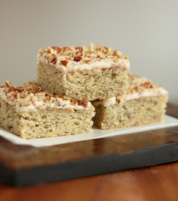 three banana bars stacked on a plate