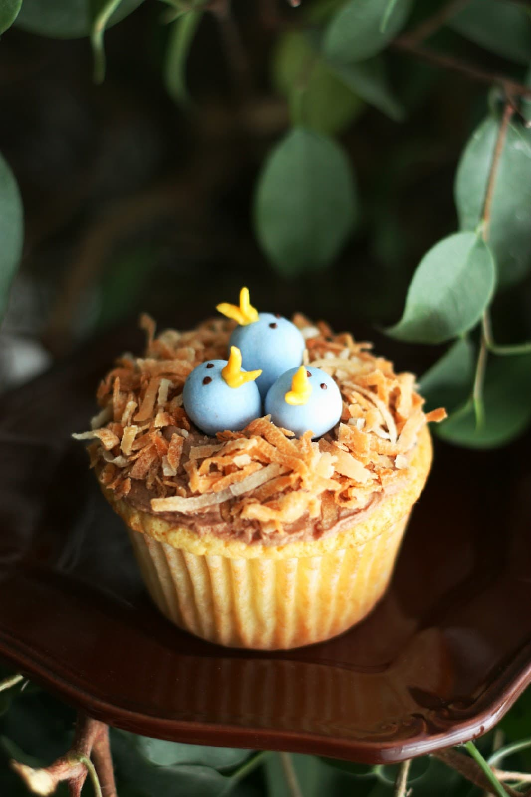 Coconut Nest Cupcakes Recipe — Dishmaps