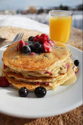 Blueberry Raspberry Buttermilk Pancakes and Vanilla Cream Syrup ...