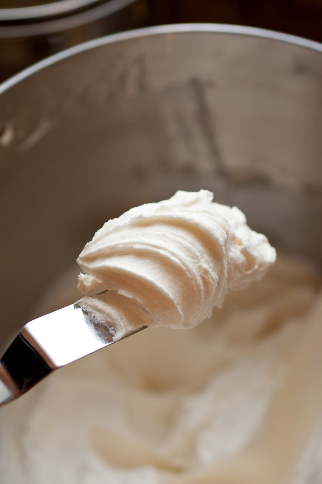The best buttercream frosting on an offset spatula.