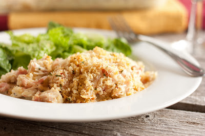 Chicken Cordon Bleu Casserole plated with side salad