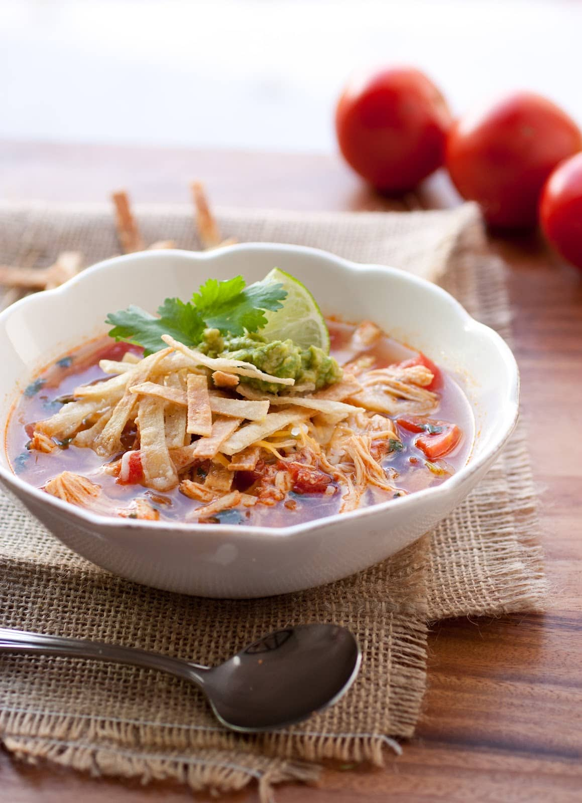 Skinny Slow Cooker Chicken Tortilla Soup is my absolute FAVORITE SOUP recipe  for Winter! Spicy