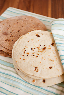 homemade wheat tortillas and white flour tortillas