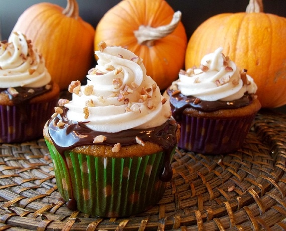 Pumpkin Cupcakes with Chocolate Ganache and Spiced Cream Cheese ...