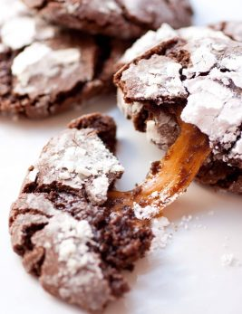 Caramel Stuffed Chocolate Crinkle Cookies