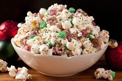 A a big bowl of Christmas crunch funfetti popcorn