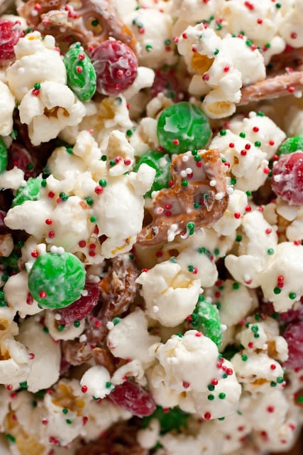 A close up of christmas crunch funfetti popcorn