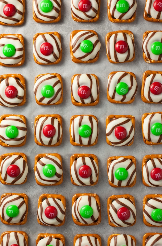 An overhead shot of Christmas Pretzel M&M Hugs