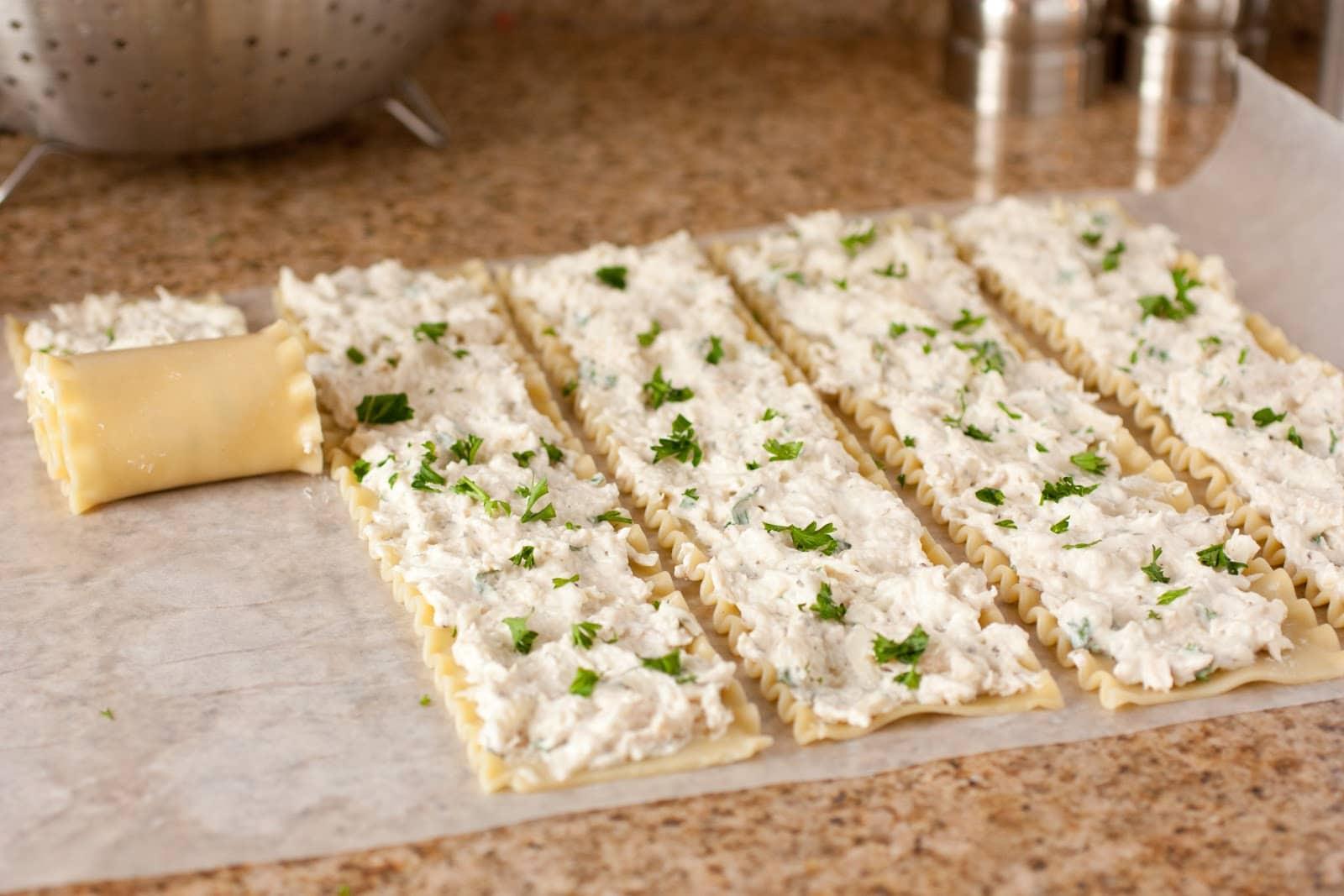 Creamy White Chicken Lasagna Roll Ups - Cooking Classy