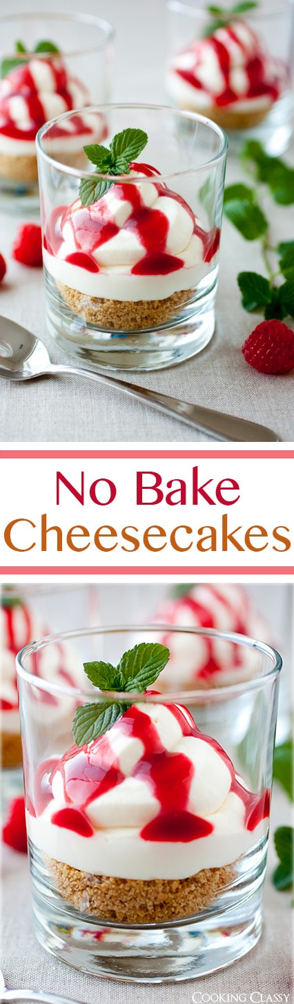 No Bake Cheesecakes with Raspberry Sauce | Cooking Classy
