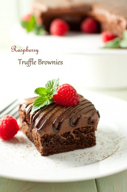 raspberry truffle brownies9text
