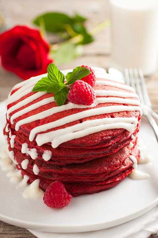 Red Velvet Pancakes with Cream Cheese Glaze Recipe via Cooking Classy