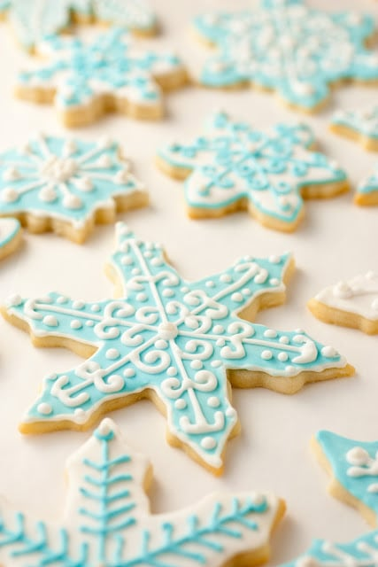 Sugar cookies decorated with royal icing.