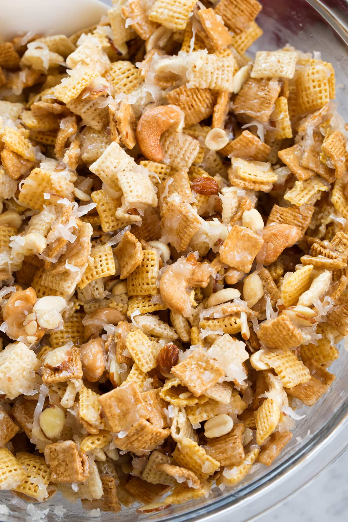 Overhead image of chex mix in a glass bowl.