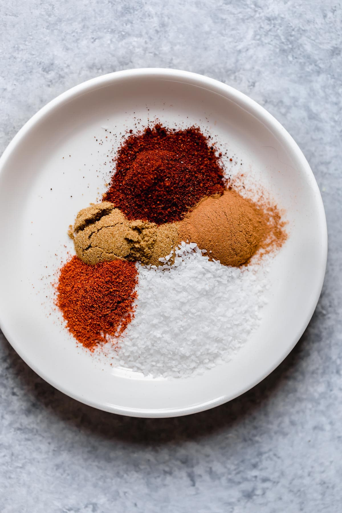 Pork tenderloin rub spices in sections on a white plate.