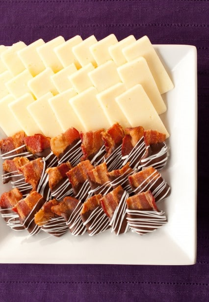 chocolate covered bacon bites and cheddar cheese