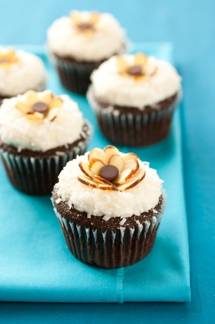 Chocolate Cupcakes with Coconut Frosting & Almonds {Almond Joy ...