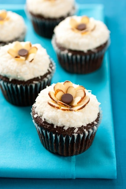 Chocolate-Almond Cupcakes With Fluffy Coconut Frosting Recipes ...