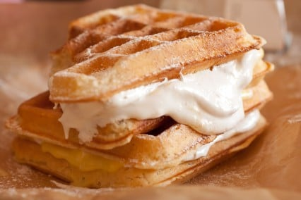 Lemon Meringue Pie Stuffed Waffles ~ Cooking Classy ~