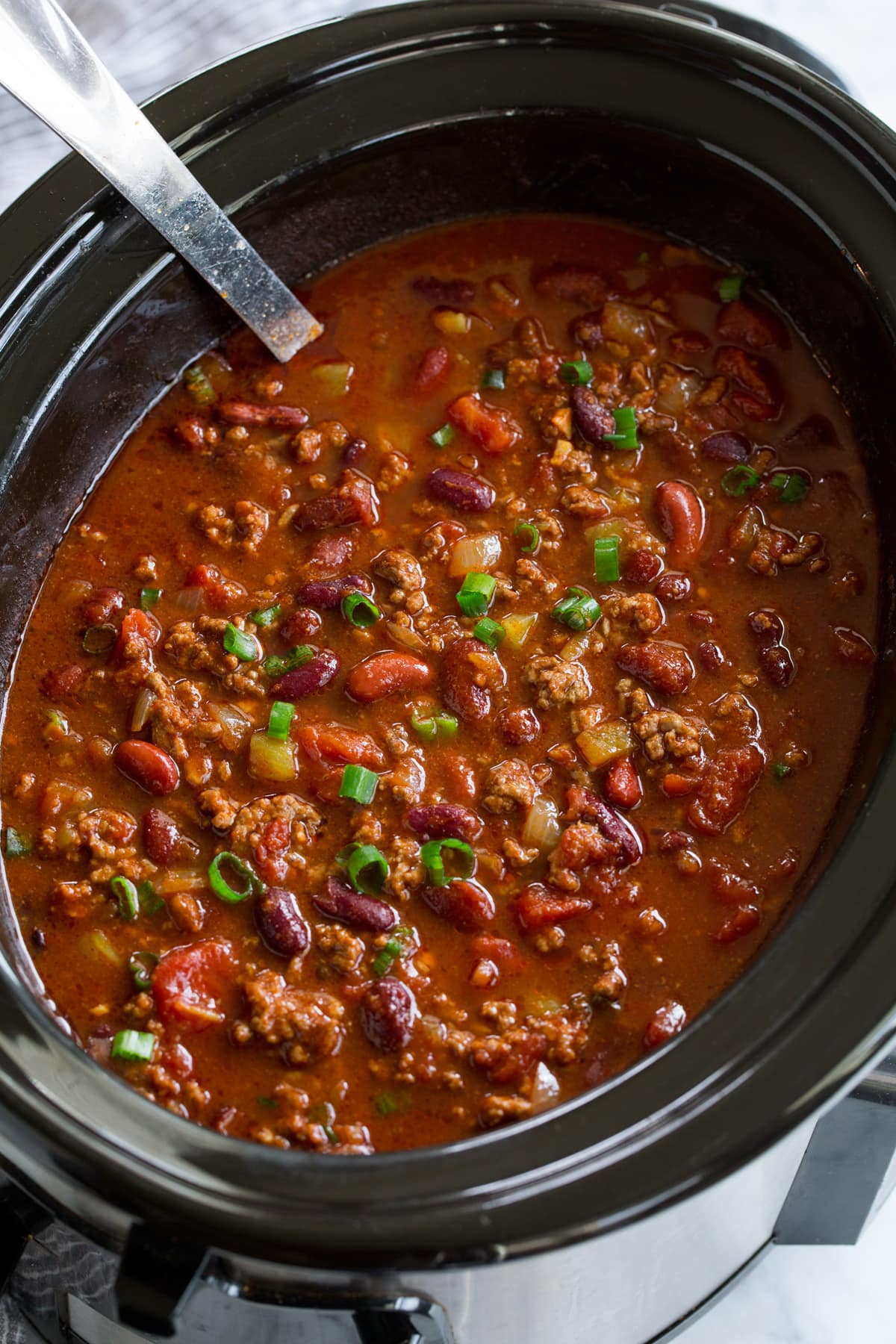 Large batch of chili in a Slow Cooker.