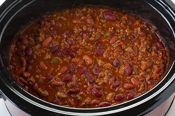 slow cooker chili in a slow cooker ready to eat