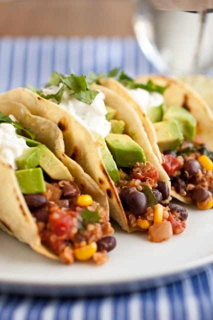 quinoa, black bean, corn tacos