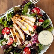salad with berries, grilled lemon chicken and feta