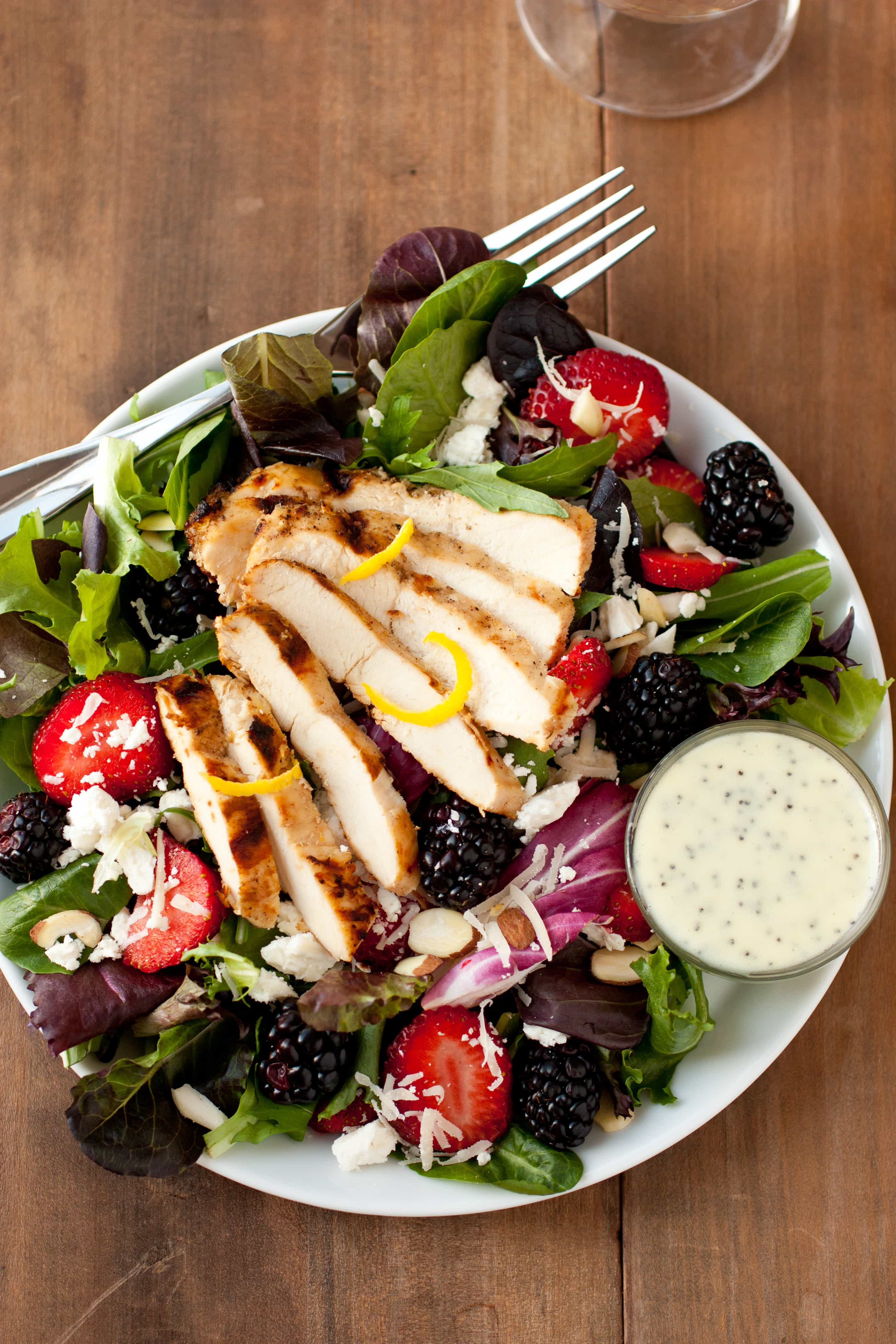 Salad With Berries Grilled Lemon Chicken Feta And
