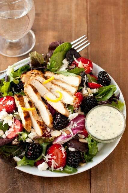 salad with berries, lemon chicken, feta, poppy seed dressing