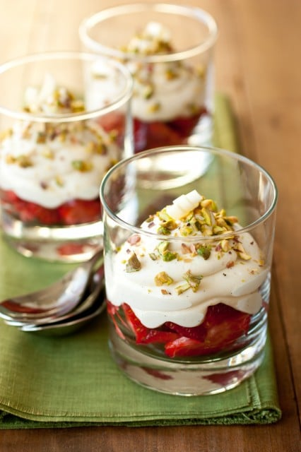 white chocolate mousse with strawberries