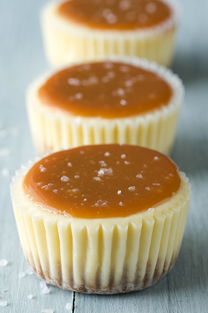 A close up of Salted Caramel Cheesecake Cupcakes