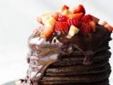 chocolate pancakes with chocolate sauce, strawberries and bananas | Cooking Classy