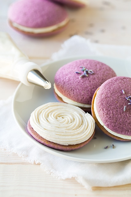 lavender whoopie pies with vanilla bean frosting | Cooking Classy