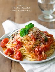 Cherry tomato sauce and spaghetti on a white plate