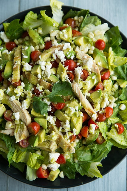 Salad with Grilled Chicken, Avocado & Tomato with Honey-Lime, Cilantro ...