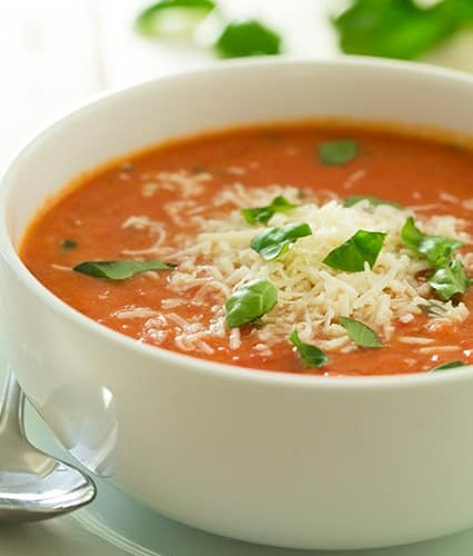 Creamy Tomato Basil Soup With Roasted Garlic And Asiago Cheese Cooking Classy