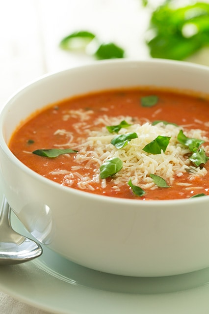 creamy tomato basil soup with roasted garlic and asiago cheese ...