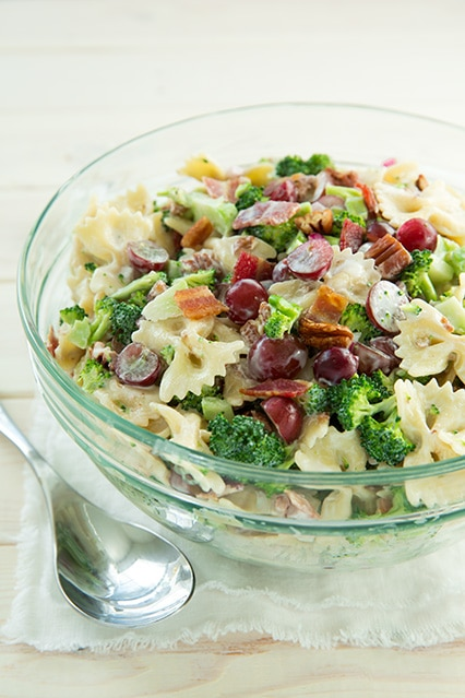 lighter broccoli grape pasta salad