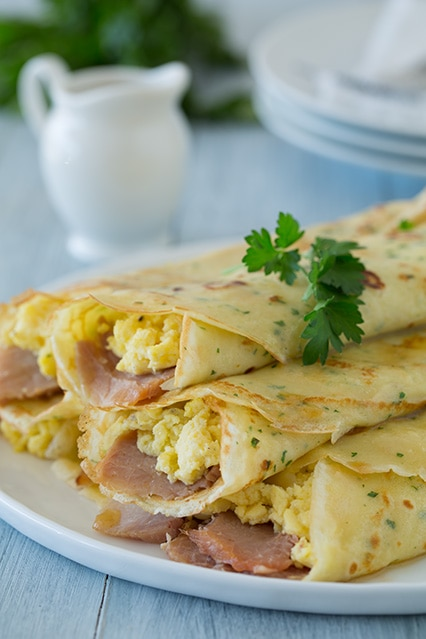 Herb Crepes With Eggs Swiss Ham And Browned Butter Cooking Classy
