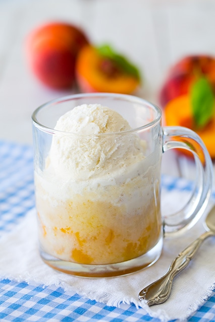 Peach Cobbler Mug Cake {5 Minute Recipe} | Cooking Classy