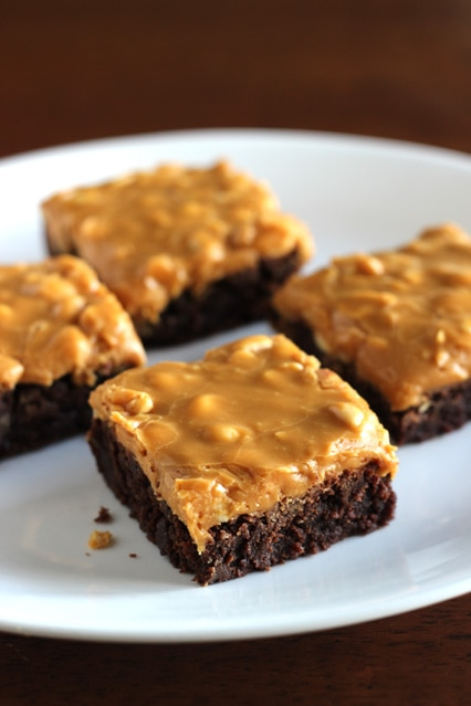 Brownies with Dulce de Leche-Salted Peanut Frosting | Cooking Classy