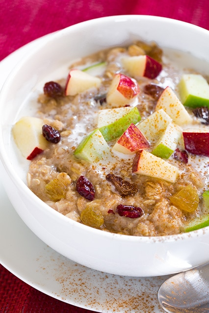 Fall Spiced Apple Cran-Raisin Oatmeal | Cooking Classy