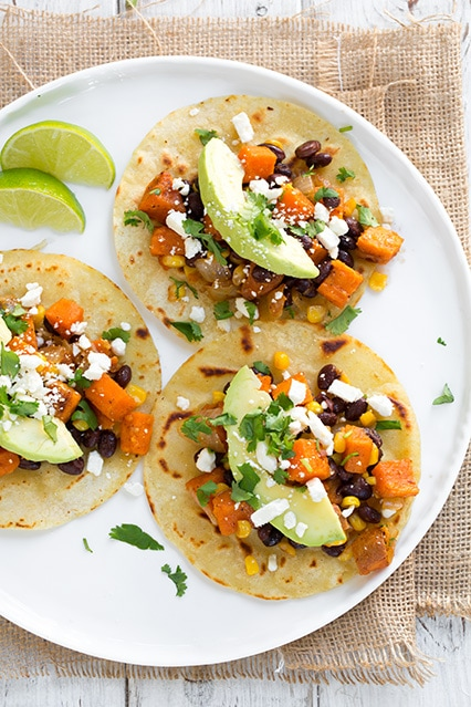 Honey-Lime Sweet Potato, Black Bean and Corn Tacos | Cooking Classy